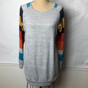Heathered block striped sleeve long length sweater